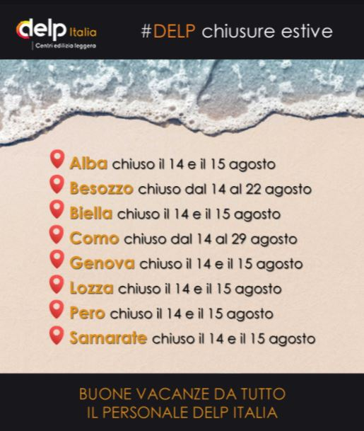 Chiusure estive Delp Italia